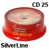25 יחידות דיסקים לצריבה SilverLine CD-R x52 700MB Cake