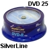 25 יחידות דיסקים לצריבה SilverLine DVD-R x16 4.7GB Cake