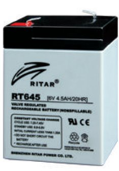 סוללה נטענת 6V עוצמה 4.5AH תוצרת Ritar דגם RT645