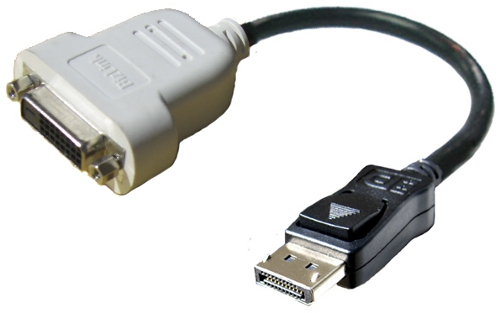 כבל מתאם קומפקטי מ-Displayport ל-DVI תוצרת BizLink