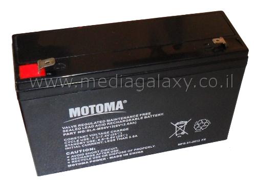 מפואר מדיה גלקסי | סוללה נטענת 6V עוצמה 12A תוצרת Motoma דגם SLA-MS6V12 XR-07